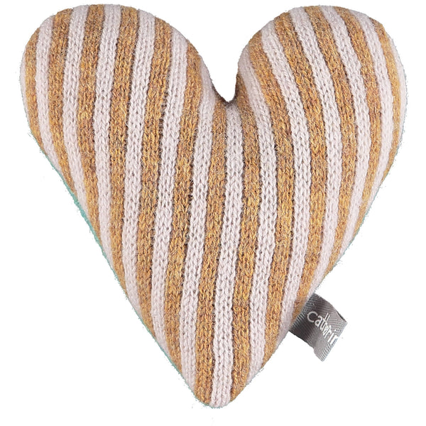 Knitted Gold & Light Pink Stripy Heart With Lavender