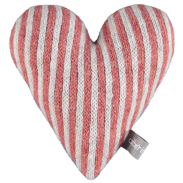 Knitted Orange & Oat Stripy Heart With Lavender
