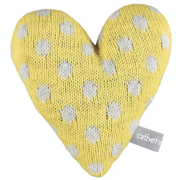 Knitted Polka Dot Yellow Heart With Lavender