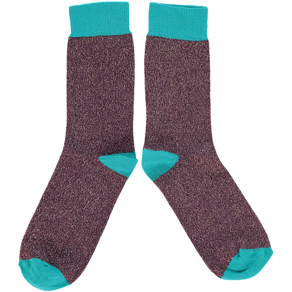 LADIES COTTON ANKLE SOCKS - AUBERGINE GLITTER