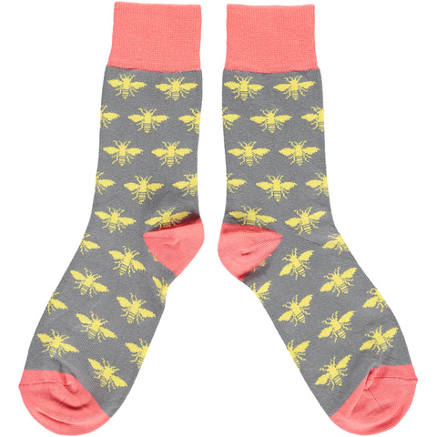 Ladies Yellow Bees Cotton Ankle Socks