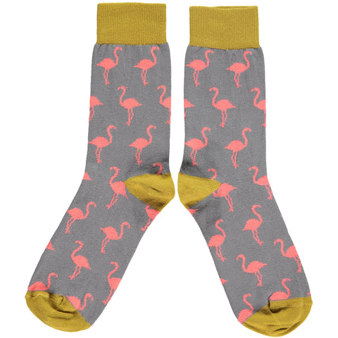 LADIES COTTON ANKLE SOCKS - FLAMINGOS