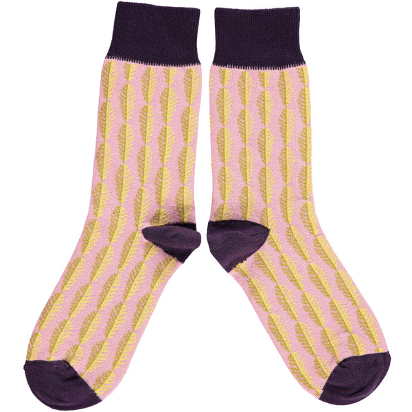 LADIES COTTON ANKLE SOCKS - LEAVES