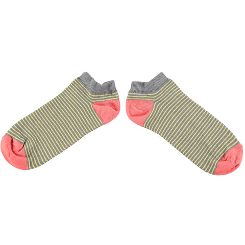 Ladies Grey Stripe Cotton Sports Socks