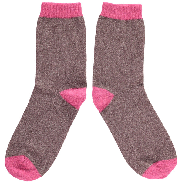 LADIES LAMBSWOOL ANKLE SOCKS -MULBERRY GLITTER