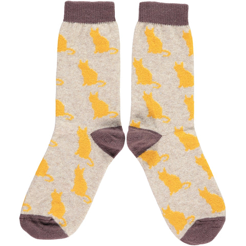LADIES LAMBSWOOL ANKLE SOCKS - CATS
