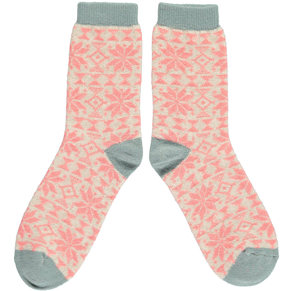 Ladies Oat & Coral Fair Isle Pattern Lambswool Ankle Socks