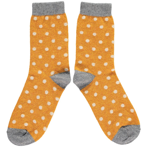 LADIES LAMBSWOOL ANKLE SOCKS - GINGER DOTS