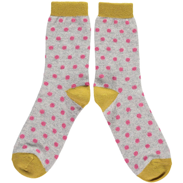 LADIES LAMBSWOOL ANKLE SOCKS  grey and pink dots