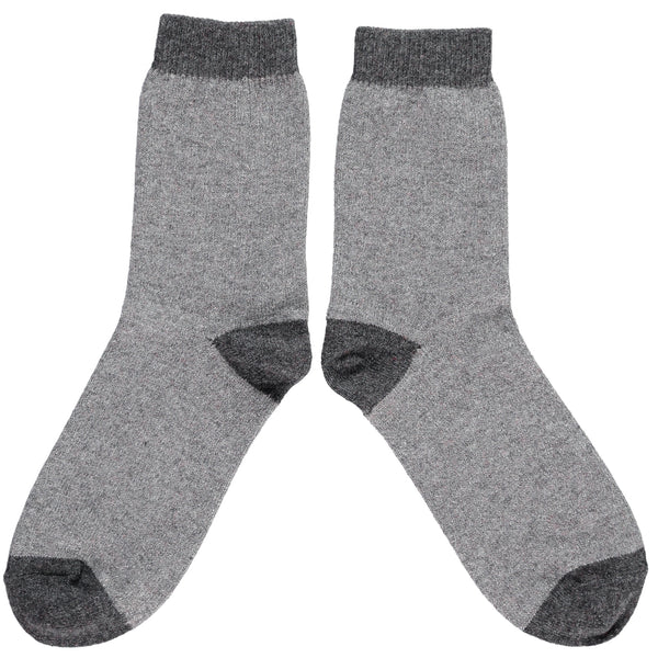 LADIES LAMBSWOOL ANKLE SOCKS - GREY GLITTER