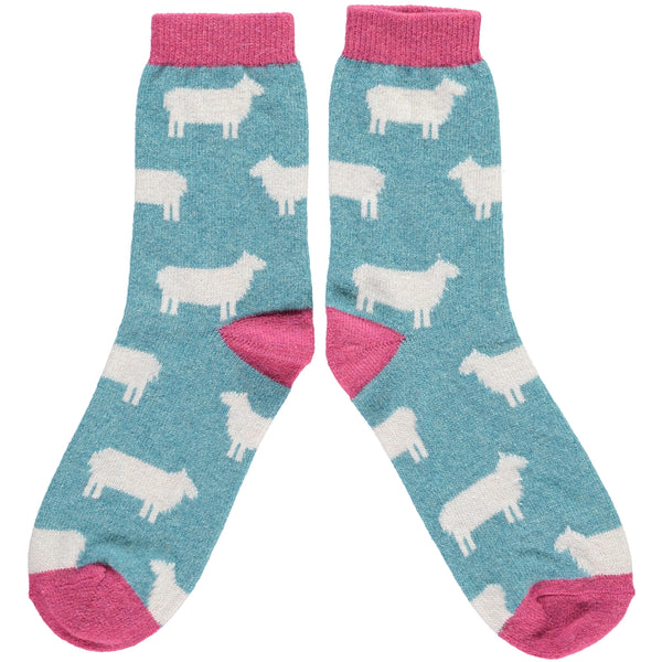 LADIES LAMBSWOOL ANKLE SOCKS - JADE AND PINK SHEEP