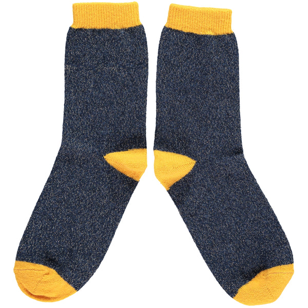 Ladies Yellow & Navy Glitter Lambswool Ankle Socks