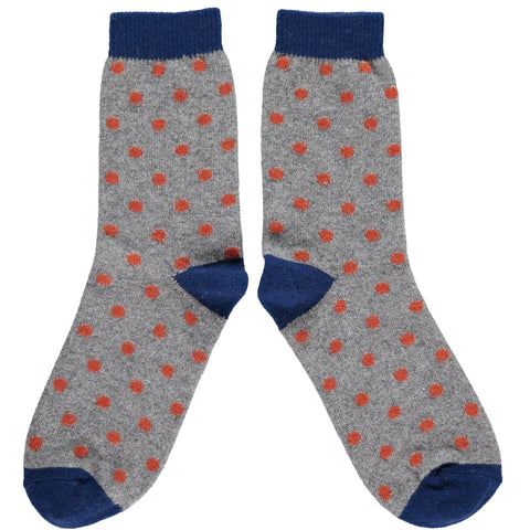 Men's Grey & Orange Dot Lambswool Ankle Socks