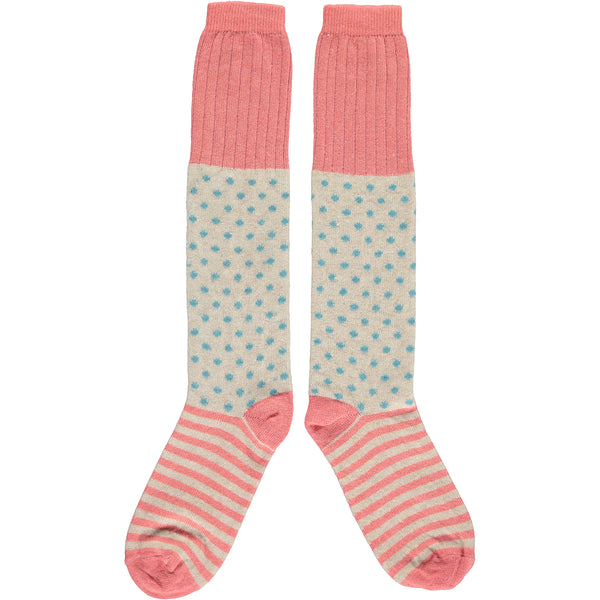 Ladies Lambswool Coral Dots & Stripes Knee Socks