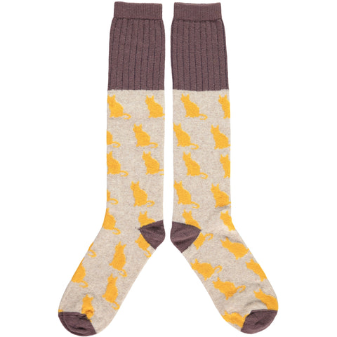 LADIES LAMBSWOOL KNEE SOCKS - CATS