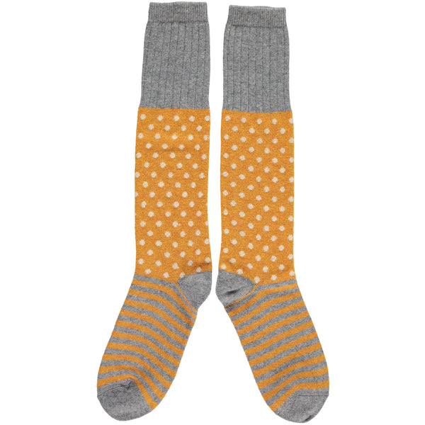 LADIES LAMBSWOOL KNEE SOCKS - GINGER DOT STRIPE