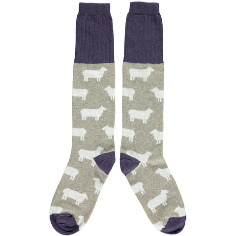 Ladies Lambswool Sage Green Sheep Knee Socks