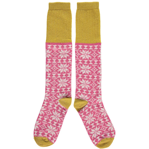 catherine tough pink fair isle knee high lamsbwool socks