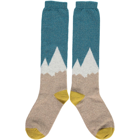 LADIES LAMBSWOOL KNEE SOCKS MOUNTAINS