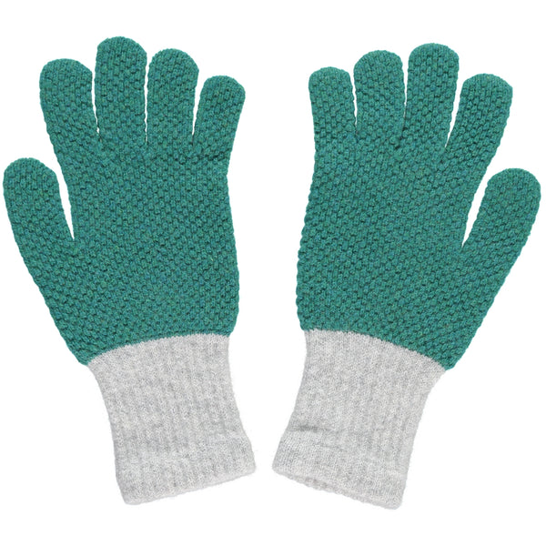LADIES LAMBSWOOL TEXTURED GLOVES - GREEN