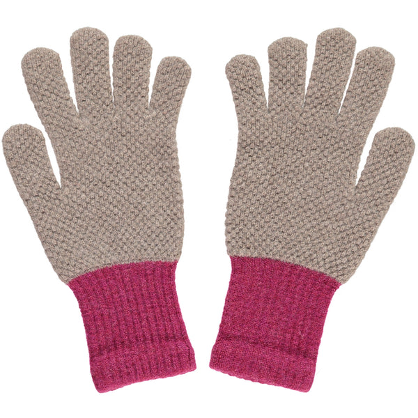 LADIES LAMBSWOOL TEXTURED GLOVES - MUSHROOM