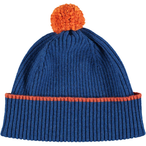 Marine Blue Bobble Hat - Orange Pom Pom