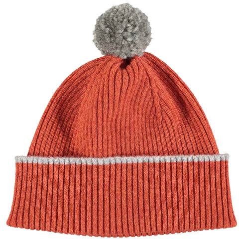 Rust Orange Bobble Hat - Grey Pom Pom