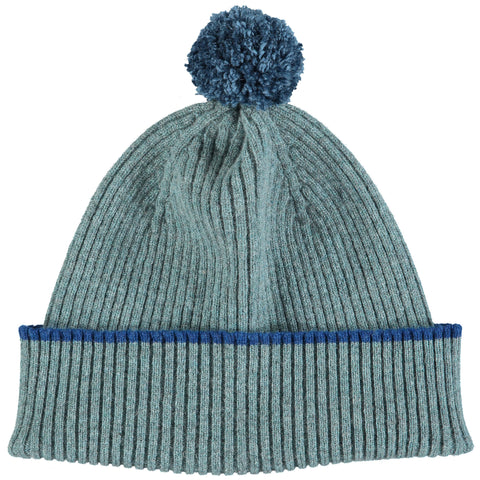 Sea Green Bobble Hat - Navy Pom Pom