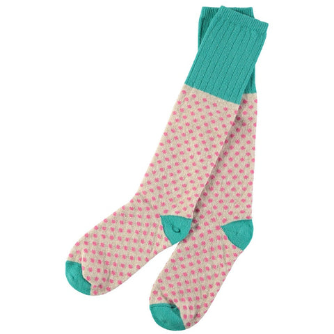 ladies lambswool oat and pink dot knee socks