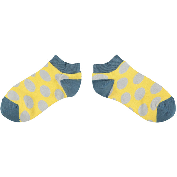 Ladies Yellow & Grey Large Dot Cotton Sports Socks