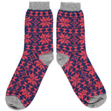 Ladies Navy & Red Fair Isle Lambswool Ankle Socks