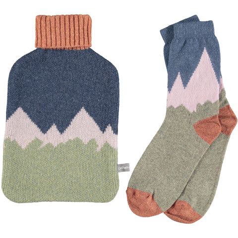 Lambswool Ankle Socks & Hot Water Bottle Set - Mountains