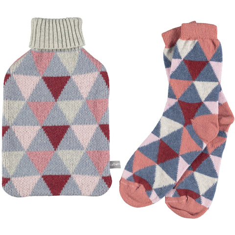 Lambswool Ankle Socks & Hot Water Bottle Set - Triangles