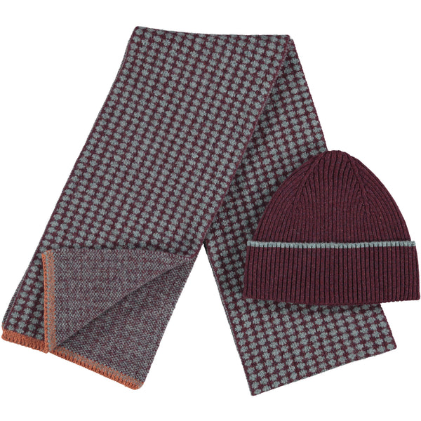 Lambswool Beanie & Scarf Set - RibAubergine Cross