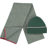 Lambswool Beanie & Scarf Set - Rib/Fir Green Cross