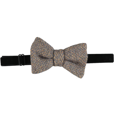 Lambswool Bow Tie - Gold & Grey Check