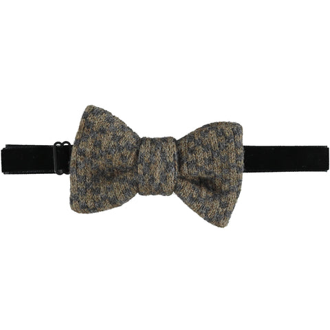 Lambswool Bow Tie -  Olive & Grey Cross