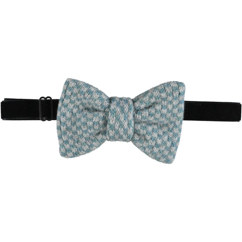Lambswool Bow Tie -  Teal Squares