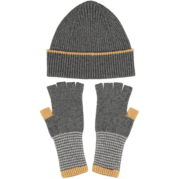 Lambswool Hat & Fingerless Glove Set - Rib Mid-Grey