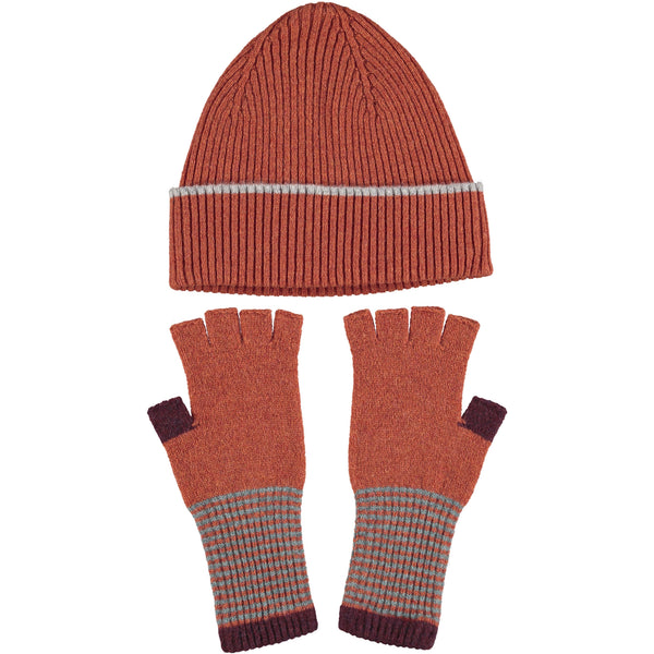 Lambswool Hat & Fingerless Glove Set - RibRust Orange
