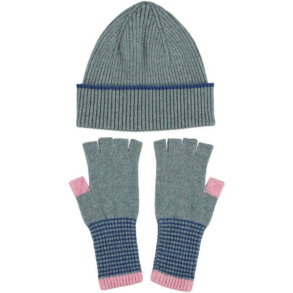 Lambswool Hat & Fingerless Glove Set - Rib/Sea-Green