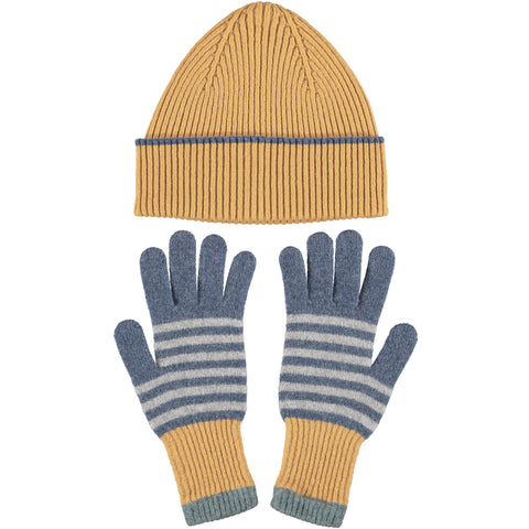 Lambswool Hat & Glove Set - Golden RibDenim Stripe