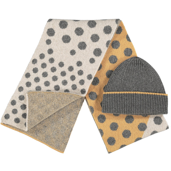 Lambswool Hat & Scarf Set - Big Spot Little Spot  Grey Rib