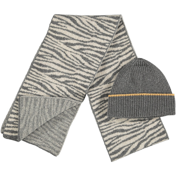 Lambswool Hat & Scarf Set - Zebra Print  Grey Rib