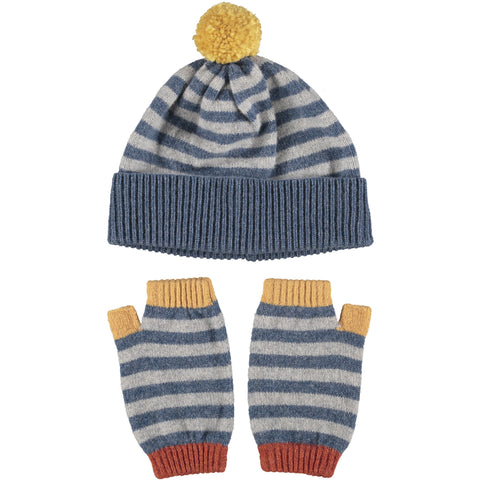 Lambswool Hat & Wrist Warmer Set - Denim Stripe