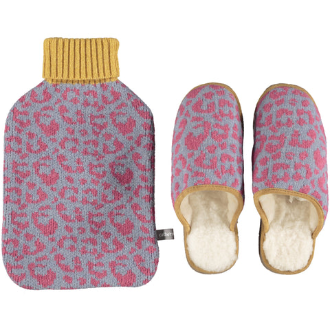 Lambswool Slipper & Hot Water Bottle Set - Leopard Print