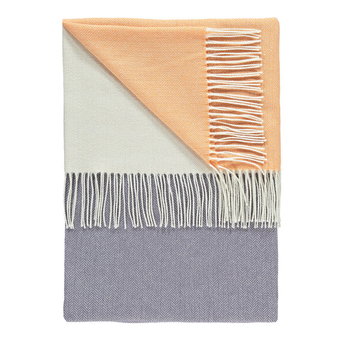 Luxury Lambswool  Grape, Apricot & Ivory Colour Block Throw