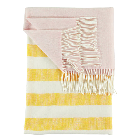 Luxury Lambswool Yellow, Pale Pink & Ivory Stripe Throw