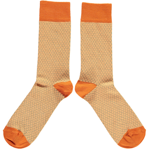 MENS COTTON ANKLE SOCKS - PEACH HONEYCOMB
