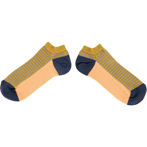 MENS COTTON SPORTS SOCKS - BLOCK STRIPE GREEN